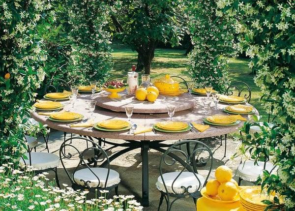 table à manger mobilier de jardin table ronde fer forge