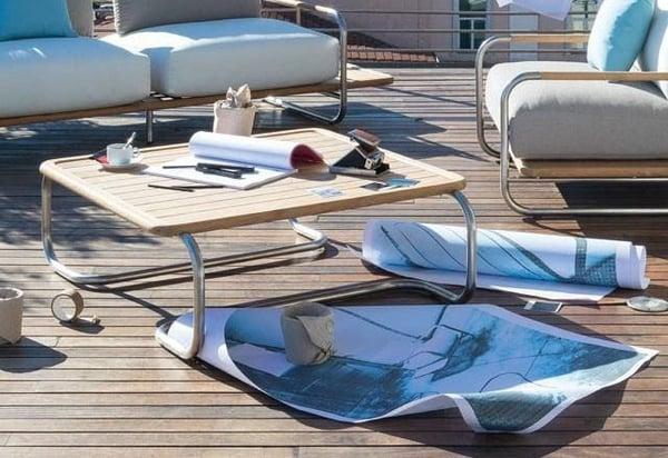 mobilier de jardin table basse acier inoxydable