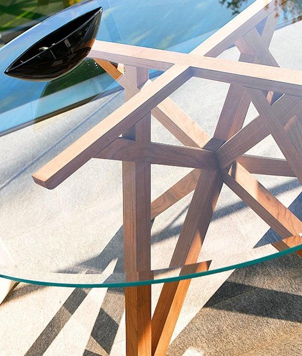 mobilier de jardin table verre teck